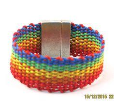 Leather rainbow woven bracelet by kitesofglass on Etsy