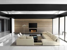 30 Awesome Minimalist Living Room Designs: 30 Awesome Minimalist Living Room Designs With Brown Sofa And Wooden Table And Modern Fireplace Minimalist Interior, Minimalist Living, Modern Interior, Interior Architecture, Modern Minimalist, Modern Man, Contemporary Architecture, Luxury Interior, Modern Living