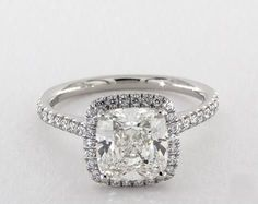 2.5ct Cushion Halo Engagement Ring in Platinum - See it in 360 HD SuperZoom!