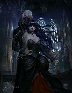 Mythical creatures, fantasy love, dark fantasy art, fantasy world, fantasy Fantasy Girl, Gothic Fantasy Art, Fantasy Couples, Fantasy Love, Beautiful Fantasy Art, Fantasy Artwork, Final Fantasy, Gothic Artwork, Medieval Fantasy
