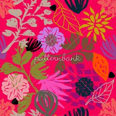 AW1617 PV Hot Pink Tropical Drawn Style Floral Blooms