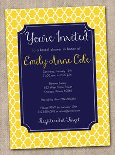 Printable Bridal Shower Invitation Yellow by InkObsessionDesigns, $16.00