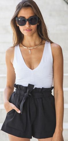 Black High Waisted Crepe Paper Bag Shorts