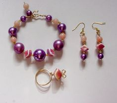 Wire wrapped set Jewelry Set, Bracelet Earrings and ring, Purple Pearls Pink Yellow vintage beads by icColors on Etsy