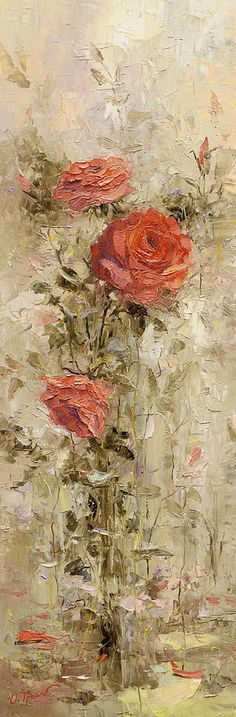 Roses In The Garden by Oleg Trofimoff - Roses In The Garden Painting - Roses In The Garden Fine Art Prints and Posters for Sale Arte Floral, Rose Art, Oeuvre D'art, Painting Inspiration, Painting & Drawing, Garden Painting, Flower Art, Amazing Art, Art Decor