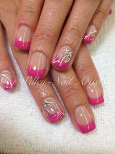 Pink wedding nails