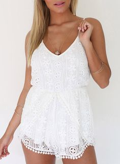 White Spaghetti Strap Crochet Lace Playsuit - Sheinside.com