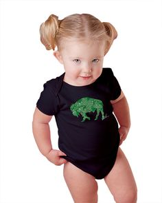 Infant One Piece Irish Shamrock Buffalo Alison Kurek black green mosaic shamrocks