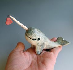 Narwhal Love  Hand sculpted Figurine with Red Heart by MaidOfClay, $25.00
