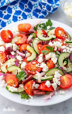 Why is Greek salad SO good?Get the recipe: Greek Salad Tomato Salad Recipes, Greek Salad Recipes, Salad Recipes For Dinner, Dinner Salads, Healthy Salad Recipes, Edamame, Best Greek Salad, Crunch, Diet Recipes