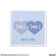 Twin boys blue hearts napkin http://www.zazzle.com/twin_boys_blue_hearts_napkin-256509234634307850