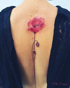 Poppy Watercolor Flower Tattoo Idea for Spine Back #TattooIdeasWatercolor