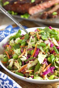 Ready in minutes! This Easy Asian Style Coleslaw is the perfect summer side dish. So simple to make. Fresh, fast and healthy, the best ever side dish! Summer Side Dishes, Best Side Dishes, Side Dish Recipes, Recipes Dinner, Asian Coleslaw, Asian Slaw, Slaw Recipes, Healthy Salad Recipes, Fast Recipes
