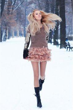Black CCC Boots  Tan Mango Sweater  Black Bershka Bag  Light Pink Stradivarius Skirt-love this!