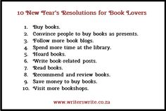10 New Year's Resolutions for Book Lovers - Writers Write