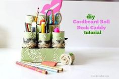 diy cardboard roll desk caddy backtoschool, crafts, repurposing upcycling