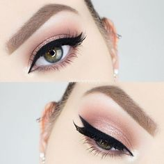 rose gold eye w/ black winged liner (substitute w/ grey or brown for everyday) @itsgenesys | #makeup eyeliner