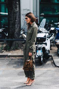 Milan Fashion Week street style: khaki jumpsuit overalls, silver heels