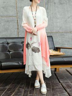 Shop Midi Dresses - White Two Piece Floral Long Sleeve Midi Dress online. Discover unique designers fashion at StyleWe.com.