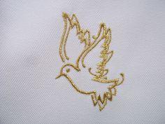 étole de baptême blanche polyester, broderie COLOMBE au fil d'or, doré gold…
