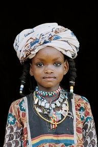 Lovely Young Wodaabe Girl ~  in Colorful Dress, Turbin, & Necklaces. http://pinterest.com/mojojojo89/exotic/