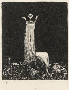 Image collections of Swedish artist John Bauer. Art and illustrations from Our Fathers' Godsaga, Swedish Fairy and Folk Tales, Lapp Folk, Swansuit, more. And of course trolls! John Bauer, Arte Van Gogh, Jugendstil Design, Arte Obscura, Fairytale Art, Dark Art, Art Inspo, Illustrators, Fantasy Art
