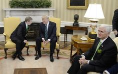 (AFP OUT) U.S. President Donald J. Trump (C) holds a bilateral meeting with the Taoiseach of Ireland Enda Kenny in the Oval Office of the White House on March 16, 2017 in Washington, DC.  Kenny is in town to celebrate St. Patricks Day.