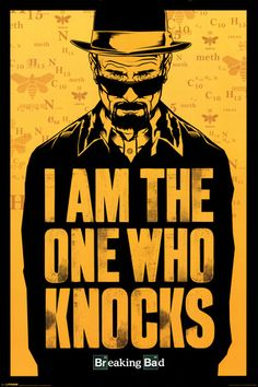 "The perfect poster for any Breaking Bad fan. This Breaking Bad poster features an illustration of Walter White in the guise of his alter-ego Heisenberg along with his famous quote ""I Am The One Who Knocks"". Printed in the iconic black and yellow colours a Breaking Bad Poster, Breaking Bad Frases, Breaking Bad Arte, Affiche Breaking Bad, Serie Breaking Bad, Heisenberg, Walter White, A4 Poster, Poster Prints"