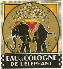 Eau de Cologne de L'Elephant original old vintage perfume/cologne label art deco