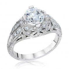 Whitehouse Brothers Platinum Vintage Lincoln Drape Engagement Ring with Dragonfly Detailing.