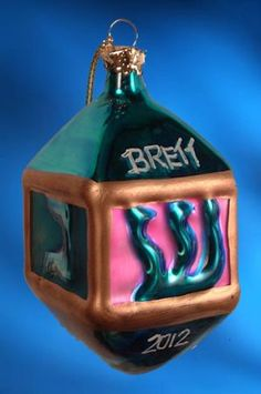 "Personalized Hanukah Dreidel Christmas Ornament.  Buy it now at www.ornamentswithlove.com for $9.99 Can be found in the ""religious"" category."