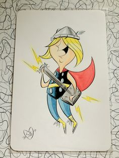 Rockin' Thor small watercolor & ink painting by wreckinbyrd (aka Stephanie Buscema)