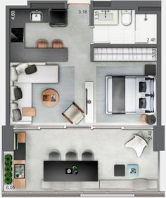 Inspiring Apartment Layout Design Ideas You Definitely Like - The design of a house is of real hugeness in light of the fact that it influences your regular day to day existence and speaks to your own character a. Studio Apartment Layout, Small Studio Apartments, Small Apartment Design, Small House Plans, House Floor Plans, Apartment Floor Plans, Small Apartment Plans, Apartment Living, Apartment Ideas
