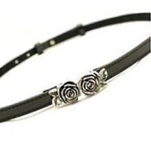 Charm n Style - Rose-Accent Slim Belt