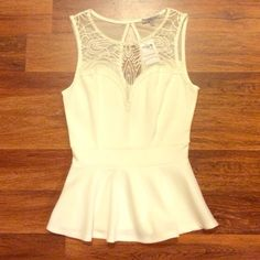 Cream Peplum Top Pretty and sweet peplum top with embroidered details on mesh. NWOT- I think I threw out the tags :/ Charlotte Russe Tops