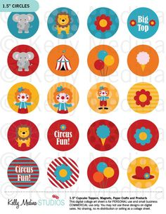 Circus - Printable 1.5 inch Circle Digital Collage Sheet - Commercial use for Cupcake Toppers, Magnets, Paper Crafts and Products