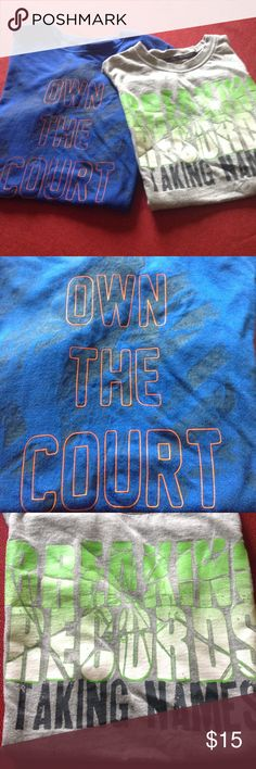2 youth boys t-shirts One short sleeved t-shirt in royal blue wording says Own The Court. The gray one is sleeveless and says Breaking Records And Taking Names. Both are size 10/12 and Xersion brand Xersion Shirts & Tops