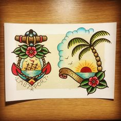 #traditionaltattoo #flash I like the right one but with something different written on it