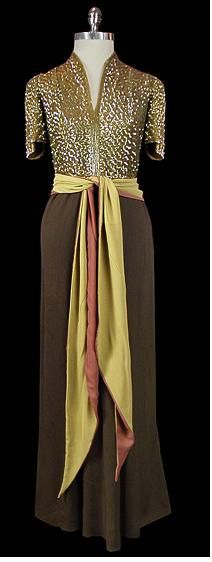 evening gown 1930s  The shape is timeless but the color scheme screams 1930s