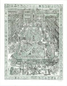 Hoxton Square contemporary limited edition print by Adam Dant Festival Posters, Limited Edition Prints, Graphic Art, Original Artwork, City Photo, Drawings, London Map, Illustration, Artist
