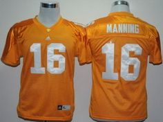 Kids Tennessee Volunteers 16# Peyton Manning Yellow NCAA Youth Jersey