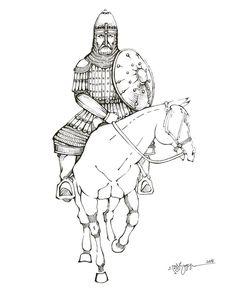 Georgian general of the XII-XIII centuries by MegruliGuy on DeviantArt Types Of Armor, Military Costumes, Byzantine, Georgian, Warfare, Archaeology, Soldiers, Warriors, Armour