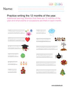 Free English Worksheets for Preschoolers Math Addition Worksheets, Free Worksheets, Preschool Worksheets, Writing Practice, Months In A Year, Learning, Studying, Teaching, Preschool Printables