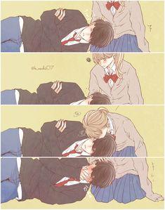 Anime Couples Drawings, Anime Couples Manga, Manga Anime, Anime Couples Cuddling, Romantic Anime Couples, Anime Comics, Kawaii Anime, Anime Couple Kiss, Anime Friendship