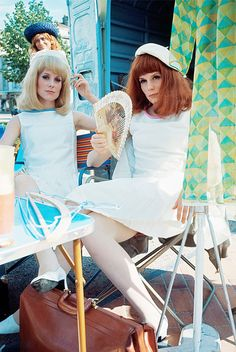 "framboisedorleac: "" Catherine Deneuve and Françoise Dorléac photographed by Philippe Le Tellier on the set of Les Demoiselles de Rochefort, June 1966. """