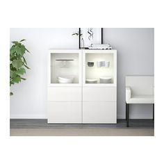 BESTÅ Opbevaringsløsning med vitrinelåger - hvid/Selsviken højglans/hvidt klart glas, skuffeskinne, åbnebeslag - IKEA
