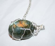 Labradorite Stone Wire Wrapped Pendant by CrystalLuvJewelry, $18.00