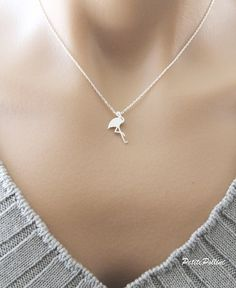 Flamingo Necklace in Matt Silver/ Gold. Birds. by PetitePollini