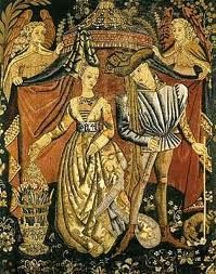 Charles of Orleans (Valois) & Marie of Cleves, his third consort, and mother of Louis XII of France,Mary Tudor's short-lived husband. Medieval Tapestry, Medieval Art, Renaissance Art, Medieval Costume, Charles Viii, Roi Charles, Henry Viii, Louis Xii, Eleanor Of Aquitaine