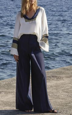 This Zeus + Dione Aeolus Cotton Wide Leg Pant features a high rise waistband and a wide leg. Wide Leg Pants, Duster Coat, Skirts, Cotton, Jackets, Shopping, Clothes, Collection, Blue Nails